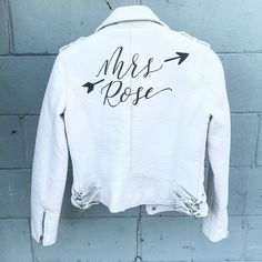 Hand Painted Leather Jacket / Bride Leather Jacket / Wedding Calligraphy by @foxandsparrowdesign