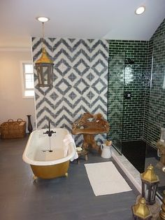 Genevieve Gorder bathroom - I watched this episode and LOVED this bathroom! The green glass subway tile and tiki wood are awesome - I want them in my bathroom. Dream Bathrooms, Beautiful Bathrooms, Genevieve Gorder, Kitchen And Bath, My Dream Home, Sweet Home, New Homes, House Design, Interior Design