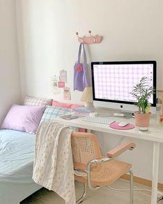 Room Design Bedroom, Room Ideas Bedroom, Bedroom Decor, Korean Bedroom Ideas, Bedroom Bed, Bedroom Inspo, Study Room Decor, Cute Room Decor, Pastel Room Decor