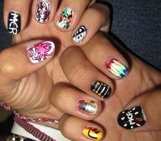 MCR Nails! Emo Nail Art, Cute Nail Art, Cute Nails, Hair And Nails, My Nails, Band Nails, Foil Nails, Crazy Makeup, Acrylic Nail Art