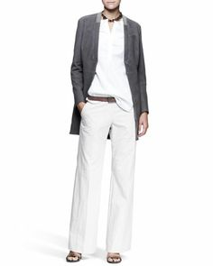 Monili-Collar Jacket, Textured-Sleeve Shirt, Wide-Leg Pants, Leather Belt & Smoky Quartz Necklace by Brunello Cucinelli at Bergdorf Goodman.