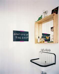 """Bathroom Photos. Vintage bath; love the sink and the """"framed box"""" mirror!"""