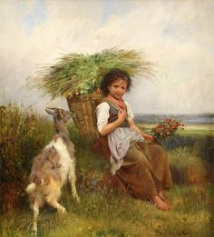 Child and goat (artist not known) Anton, Paintings I Love, Beautiful Paintings, Cross Stitch Designs, Cross Stitch Patterns, Intermediate Colors, Cross Stitch Supplies, Victorian Art, Gravure