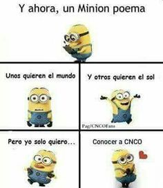 Read 170 ReBeldE from the story CNCO Memes by AngelaNayelITMR (CNCOMisterios! Minion Meme, Minions Quotes, Minion Poemas, Funny Memes, Jokes, Funny Pics, Spanish Humor, Favim, Little My