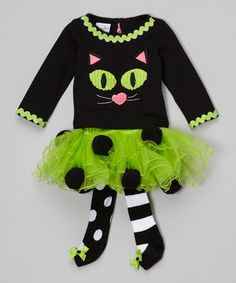 Look at this Mud Pie Black & Green Cat Tee & Skirted Tights - Infant, Toddler & Girls on #zulily today!