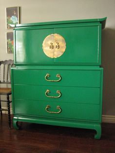"~ SOLD ~ Mid-century Kent Coffey ""Amerasia"" chest of drawers. Solid wood. Emerald green high gloss lacquered finish. Beautiful over si..."