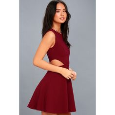 Lulus  Toast to You Wine Red Cutout Skater Dress ($54) ❤ liked on Polyvore featuring dresses, red, red flared skirt, red fitted dress, red skater dress, cut out dresses and fitted dress