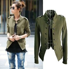 Women's Fashion Slim Button Casual Business Blazer Suit Jacket Coat Outwear #Unbranded #Military