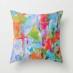 Abstract Art Pillow  Beaucoup de Couleurs by LimezinniasDesign