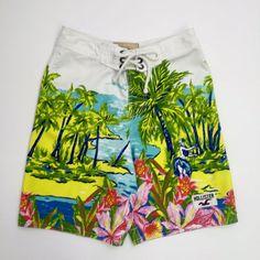 80f1ceb67d Hollister Board Shorts Hawaiian Hula Girl Tropical Swim Trunks Surfer Mens  XS #Hollister #BoardShorts
