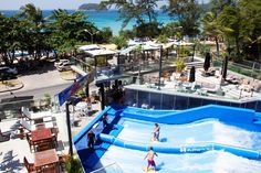 SKILL vs. THRILL :: The FlowRider provides the antidote to thrill fatigue.  Riders challenge themselves to learn the skill which drives spectatorship and repeat visitation, thereby increasing total capacity! A birds eye view from #surfhousephuket