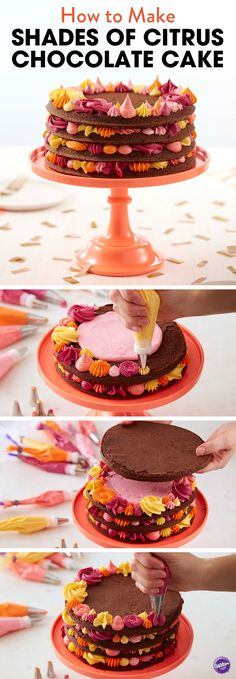 How to Make Shades of Citrus Chocolate Cake - A sweet treat that's great for summer, this Shades of Citrus Chocolate Cake is the only reason you need to have a celebration. Tasty chocolate layers are stacked between colorful stars, dots and rosettes…making this cake a stunning centerpiece to any birthday, anniversary or wedding shower. Use the Wilton Easy Layers Cake Pan Set to create 4 layers of cake at once!