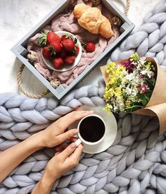 Cosy coffee in bed breakfast flatlay