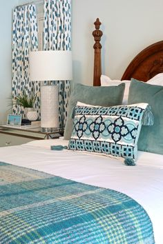 Master Bedroom Makeover: Reveal Wall color is Window Pane by Sherwin Williams Blue Paint Colors, Concrete Houses, Master Bedroom Makeover, Bedroom Decor, Bedroom Furniture, Bedroom Ideas, Wall Decor, Woodland Nursery Decor, Home Design Plans