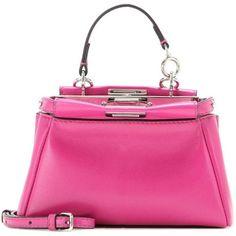 Fendi Micro Peekaboo Leather Shoulder Bag (5.610 RON) ❤ liked on Polyvore featuring bags, handbags, shoulder bags, pink, pink shoulder handbags, fendi handbags, fendi purses, pink leather handbag and genuine leather purse