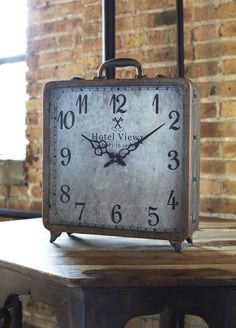 Vintage Suitcase Table Clock 16-in