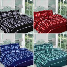 Checked Bed in a Bag Finley Duvet Cover Bedding Set Single Double King Superking King Size Bed Sheets, King Size Duvet, Double King Size Bed, Luxury Duvet Covers, White Sheets, Bed In A Bag, Bed Linen Sets, Duvet Bedding Sets, Cotton Duvet