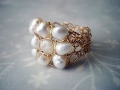 freshwater pearls and lace gold....