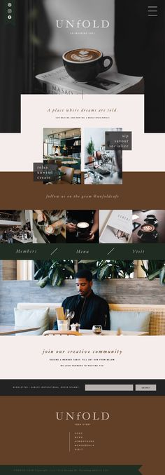 UNfOLD Co-working Cafe is a concept brand. Design style elements: organic and edgy meets modern moody. Web Design Trends, Site Web Design, Web Design Tutorial, Web Design Logo, Graphic Design, Minimal Web Design, Modern Web Design, Website Designs, Minimal Style
