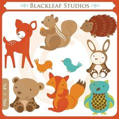 Woodland Forest Clip Art  Personal and by blackleafdesign on Etsy, $5.00 - These would make the cutest cookies :)