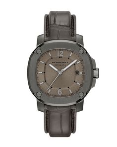 43mm Automatic Watch with Alligator Strap, Smoked Gray, Men's - Burberry