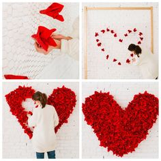 What you need: wood poles, chicken wire, red paper napkins, nail gun Valentines Day Decorations, Valentine Day Crafts, Wedding Decorations, Valentinstag Party, Paper Heart Garland, Tissue Paper Art, Paper Art Projects, Decoration Vitrine, Heart Crafts