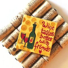 Wine Lovers Magnet  Original Miniature Acrylic Canvas  by nJoyArt
