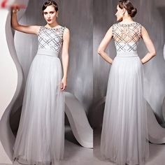 Unique Light Gray Grey Tulle Sequin Sleeveless Evening Ball Gowns Women SKU-122232