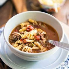 Hamburger soup: it's the goodness of a juicy hamburger and the warmth of a big comforting bowl of soup, all rolled into one! Beef Recipes, Soup Recipes, Cooking Recipes, Balsamic Pork Tenderloins, Celery Rib, Soup Crocks, Miso Soup, Bowl Of Soup, Soups And Stews