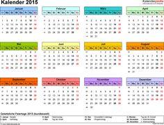 Kalender 2015 - free download - für Word, Excel und PDF - Jahreskalender, Monatskalender etc.