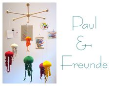 Mobile - Großes Mobile - Qualle Paul & seine Freunde - ein Designerstück von GoldKindBerlin bei DaWanda