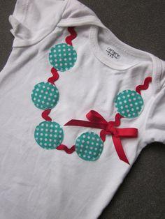 Polka dot necklace applique onesie by TheModishLife on Etsy, $17.00