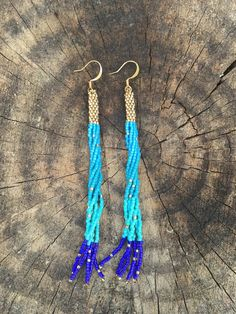 24K yellow gold accented marine blue tassel fringe earrings by TaurusHeart on Etsy