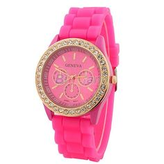 Geneva Silicone Golden Crystal Stone Quartz Ladies/Women/Girl Jelly Wrist Watch Candy Colors 001K