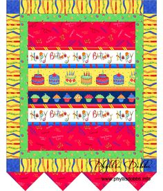 "Happy Birthday quilted banner created with ""Celebrate"" fabrics by Phyllis Dobbs for Quilting Treasures.  Fun sewing and quilting projects for free download for birthday sewing."