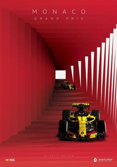 2018 Monaco GP - Renault Sports stunning poster for the world's most famous street It's race week! Formula 1 Autos, Renault Formula 1, Formula 1 Car Racing, Formula 1 Mexico, Sport Cars, Race Cars, Sport F1, Racing Wallpaper, Casablanca
