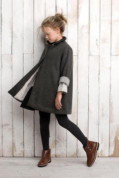 preppy style fashion kid kids girl blonde simple clean long coat winter fall legging stocking warm brown