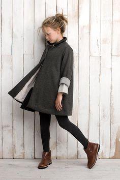 preppy style fashion kid kids girl blonde simple clean long coat winter fall legging stocking warm brown