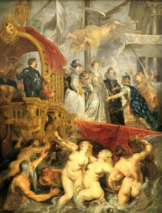 Peter Paul RUBENS, Arrival of Marie de Medici at Marseilles, Baroque Flanders. made baroque style international, most famous painter of baroque.