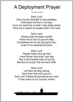 A Deployment Prayer. - And so begins the hardest part of being a military wife.the long deployments. If it weren't for the love and support from family and friends along with a firm faith, this time apart would be nearly impossible. Deployment Quotes, Deployment Party, Military Deployment, Military Spouse, Military Relationships, Deployment Letters, Airforce Wife, Military Girlfriend, Usmc