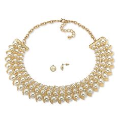 Three rows of creamy pearls and crystals form an elegant band of stunning shine around your neck. Graduated simulated pe-SkBTU4Sz