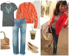 This outfit is SO me.  Grey tee, pumpkin cardi, cuffed jeans, nude patent flats, and neutral tote.