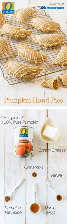 Put a new twist on the classic pumpkin pie with this grab-and-go dessert! Made with O Organics® 100% Pure Pumpkin, found exclusively at your local Albertsons, this adorable and portable sweet treat will make the holidays even tastier. Bake these Pumpkin Hand Pies from scratch and impress all your holiday guests with seasonal flavors of pumpkin spice, vanilla and cinnamon!