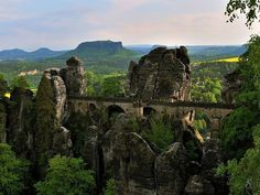 Located in the mountains of Saxon Switzerland Elbe in Germany, the Bastei Bridge is built on top of a gorgeous rock formation