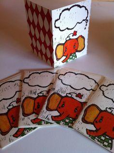 Elephant Thinking Blank Greeting Cards -Set of 5-  Hand Printed. $25.00, via Etsy.