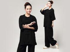6d572b6d27cd Tai Chi Clothing Pure Cotton Half-sleeve for women Black