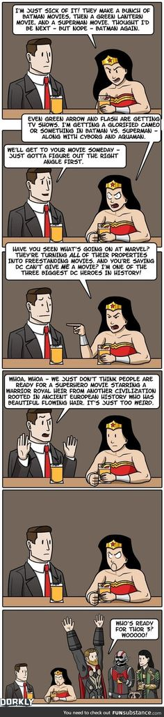 Wonder Woman is not impressed and I'm not either! Come on DC, figure it out already! This is why Marvel has the money. they are working their heroes.>>>>>>well she got her way at some point. Wonder Woman is gettin her own stand alone film! Marvel Vs, Marvel Dc Comics, John Barrowman, Dorkly Comics, Superman Movies, Superhero Movies, Wonder Woman Movie, I Am Batman, Wonder Woman