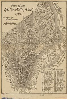 vintage map NYC 1767 from NYPL - enlarge copies of old NYC maps and wallpaper or mural