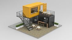 restaurant arquitectura Container Cafe and Restaurant shipping model Building A Container Home, Container Buildings, Container Architecture, Container House Plans, Container Houses, Café Container, Container Coffee Shop, Container Office, Shipping Container Restaurant