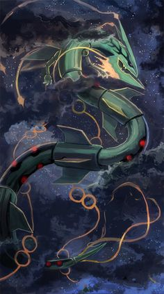 Mega Rayquaza from Pokemon Pokemon Rayquaza, Pokemon Mew, Pokemon Fan Art, Pokemon Film, Mega Rayquaza, Pokemon Fusion, Pokemon Cards, Dragon Type Pokemon, Bulbasaur